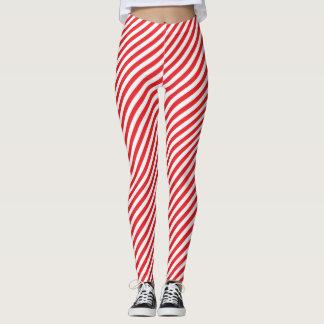 Rotes und weißes Streifen-Muster Leggings