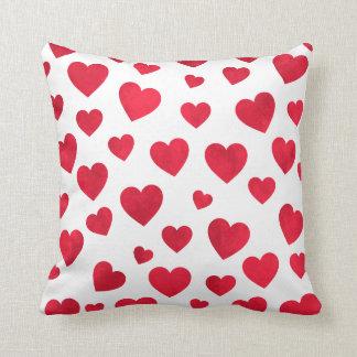 Rotes und weißes Valentinstag-Kissen mit Rot hören Kissen