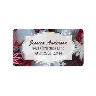 Rotes und weißes Weihnachtsadressen-Aufkleber Adressaufkleber
