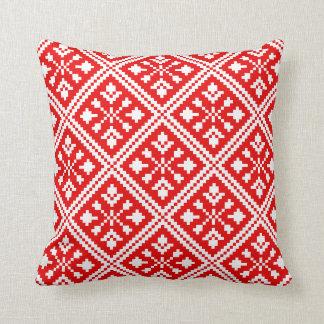 Rotes und weißes Weihnachtsschneeflocke-Muster Kissen