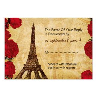 rotes Vintages Eiffel-Turmhochzeits-uAwg 3,5 x 5 Personalisierte Ankündigungskarten