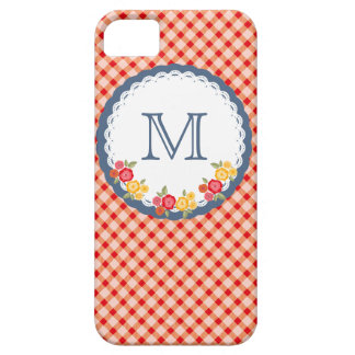 Rotes Vintages Gingham-Blumenmonogramm iPhone 5 Case