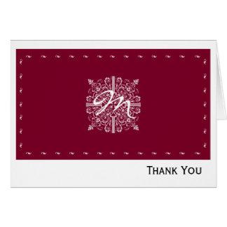 Rotes Vintages Monogramm-Geschäft Burgunders Mitteilungskarte