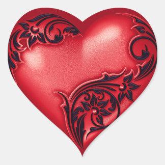 Rotes w Schwarzes der Herz-Rolle- Herz-Aufkleber