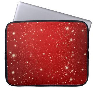 Rotes Weihnachten hat Feiertags-Glitter in der Laptopschutzhülle