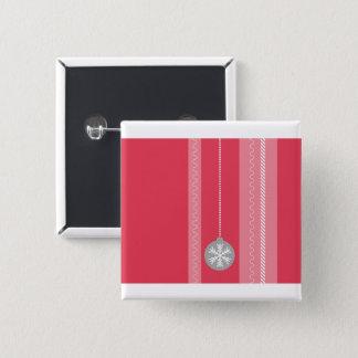 Rotes Weihnachten Quadratischer Button 5,1 Cm