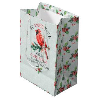 Rotes Weihnachten tweeten Vogel-Wir Sie frohen Mittlere Geschenktüte