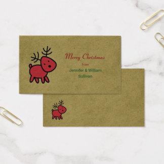 Rotes Weihnachtsren-frohe Weihnachten Visitenkarte