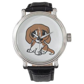 rotes Weiß des Beagle-Cartoon Uhr