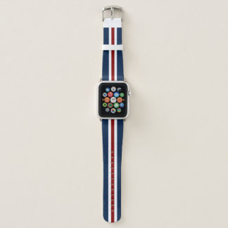 Rotes Weiß und blauer laufender Streifen Apple Watch Armband