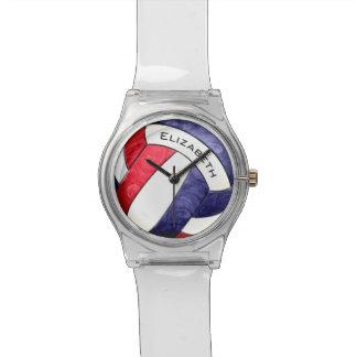rotes weißes Blau des Volleyball der Frauen Uhr