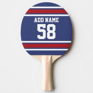 Rotes weißes Blau trägt Jersey-Name-Zahl zur Schau Tischtennis Schläger