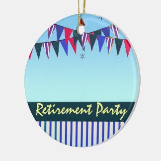 Rotes weißes blaues Ruhestands-Party Keramik Ornament