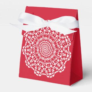 Rotes weißes elegantes Spitze-Muster Geschenkschachtel