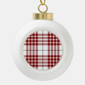 Rotes weißes kariertes Buchanan-Clan Tartan Keramik Kugel-Ornament