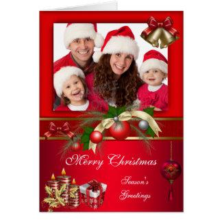 Rotes weißes Weihnachtsfröhliches Weihnachten Karte