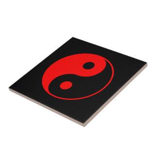 Rotes Yin Yang Symbol Kleine Quadratische Fliese
