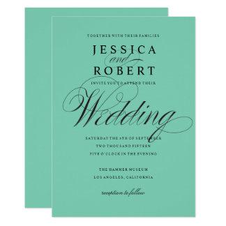 Rotkehlchen-Ei-blaue elegante Hochzeit 12,7 X 17,8 Cm Einladungskarte