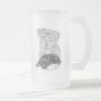 Rottweiler Hundekunst Mattglas Bierglas