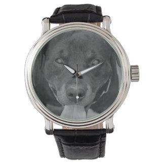 Rottweiler Hundeschwarze u. weiße Uhr