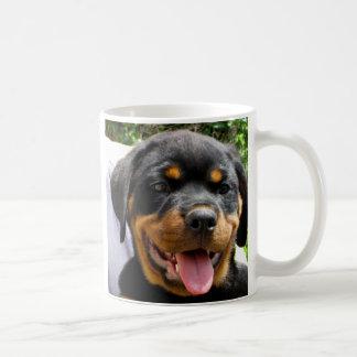 Rottweiler Welpen-Gesicht Hund niedlich Kaffeetasse