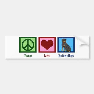 Rottweilers d'amour de paix autocollant de voiture