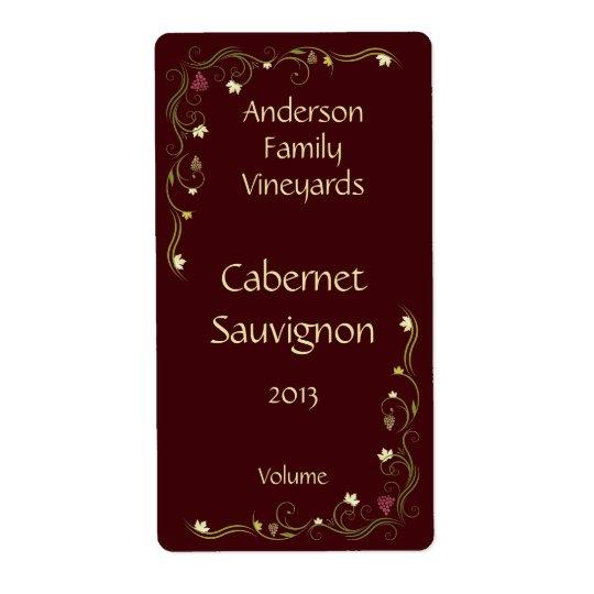Rotwein-Flaschen-Aufkleber mit Weinstock-Akzent