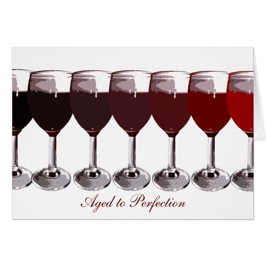 Rotwein-Geburtstag laden ein Mitteilungskarte
