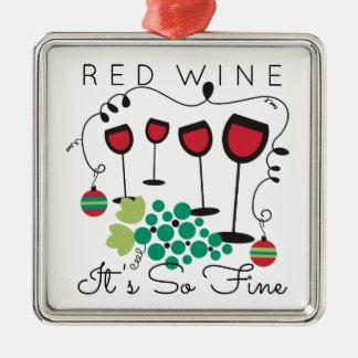 Rotwein ist es so feine feinschmeckerische quadratisches silberfarbenes ornament