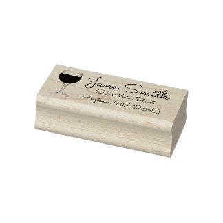 Rotwein-personalisierte Adressen-Etikett Gummistempel