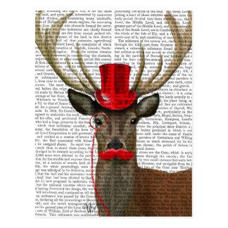 Rotwild mit roten Zylinder und dem Schnurrbart Postkarte