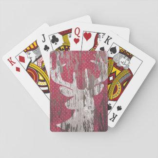 Rotwild rote weiße Spielkarten rustikalen