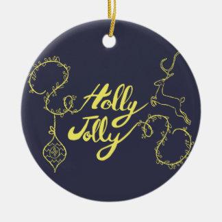 """Rotwild-""""Stechpalmen-ziemlich"""" Weihnachtsgeschenke Keramik Ornament"""