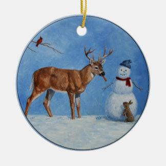 Rotwild u. lustiges Schneemann-Weihnachten Rundes Keramik Ornament