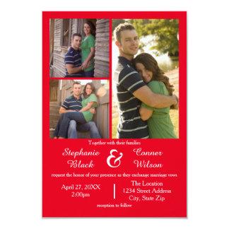 Rouge de 3 photos - faire-part de mariage 3x5