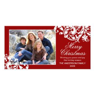 Rouge et blanc modernes de Noël de Flourish de rem Photocarte Customisée
