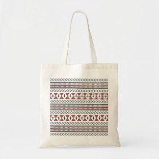 Rouge géométrique de motif d'impression tribal sac en toile budget