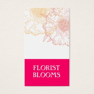 Rouge orange de fleuriste de rose moderne de cartes de visite