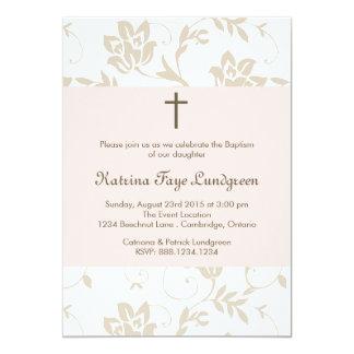 Rougissent assez l'invitation florale de baptême carton d'invitation  12,7 cm x 17,78 cm