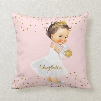 Rougissent le nom rose de bébé de princesse coussins carrés