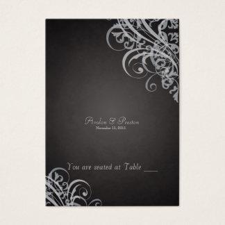 Rouleau noir et argenté baroque exquis Placecard Cartes De Visite