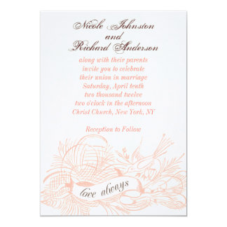 Rouleau rose d'oiseau d'invitations vintages de