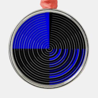 RoyalBlue n silberner Streifen Rundes Silberfarbenes Ornament