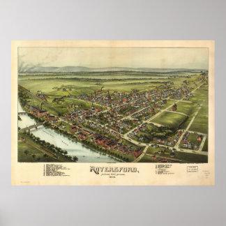 Royersford Pennsylvania 1893 antike panoramische Poster