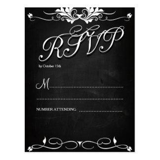 RSVP on black chalkboard Postkarte