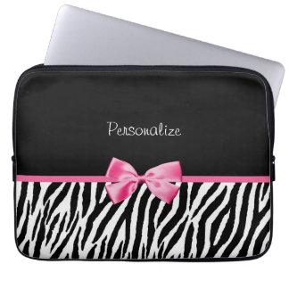 Ruban noir et blanc à la mode de rose d'impression housse pour ordinateur portable