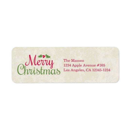 Rücksendeadresse-Aufkleber der frohen Weihnacht-|