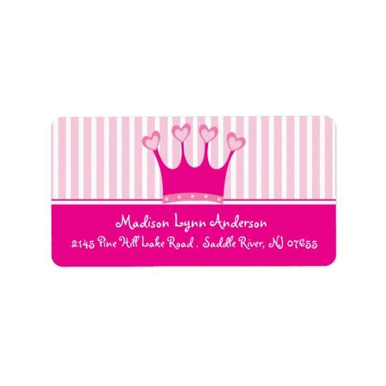 Rücksendeadresse-Aufkleber Prinzessin-Crown Adressetikett