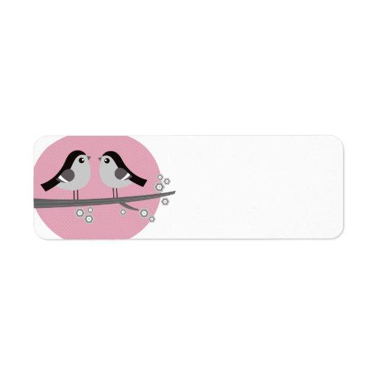 Rücksendeadresseaufkleber: mit 2 Liebevögeln Rückversand-Adressaufkleber
