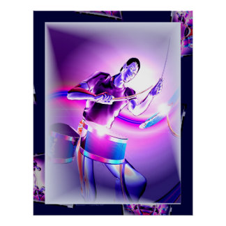 Rückwirkung - lila Schlagzeuger Poster